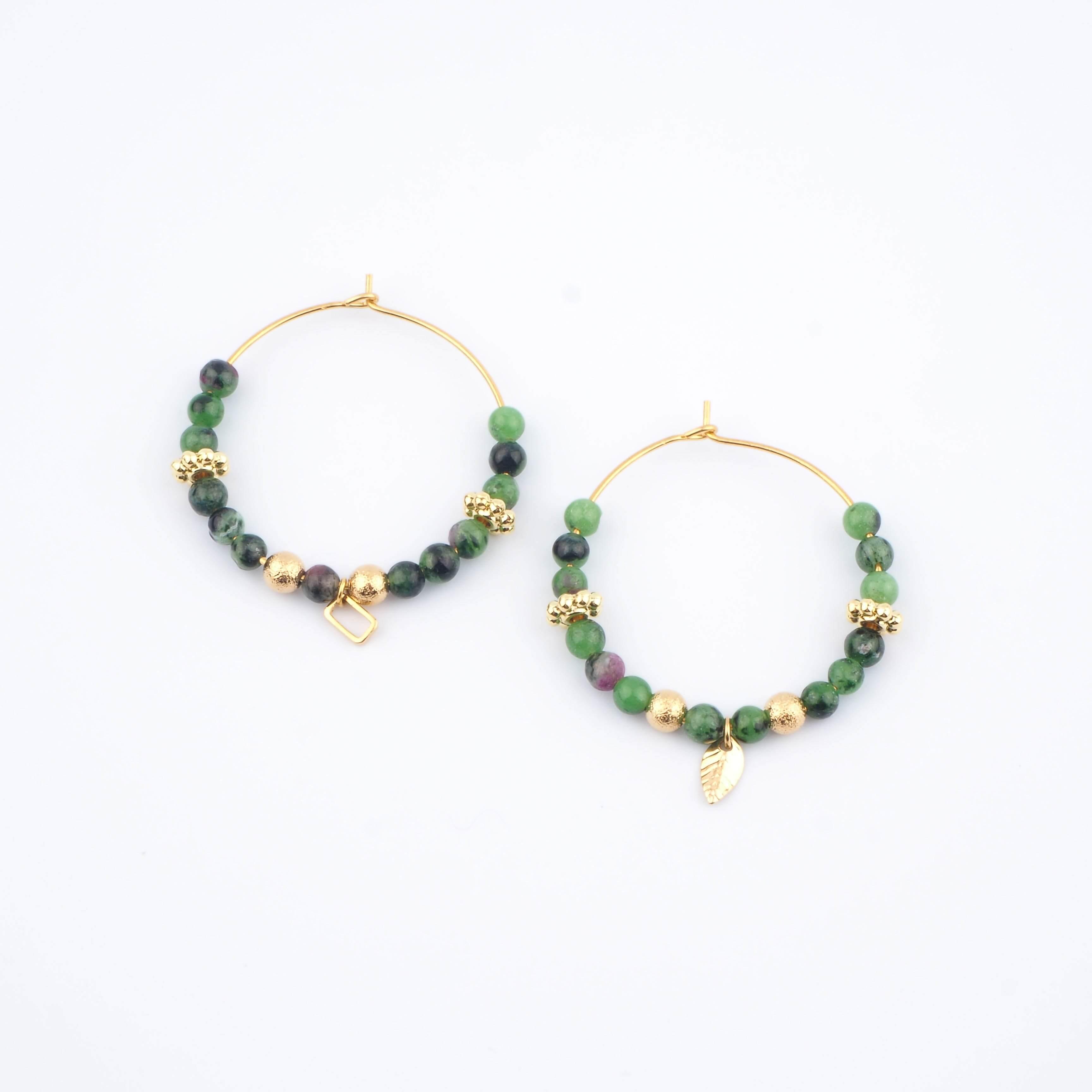 Boucles d'oreilles Murielle vertes - Ginandger Bijoux