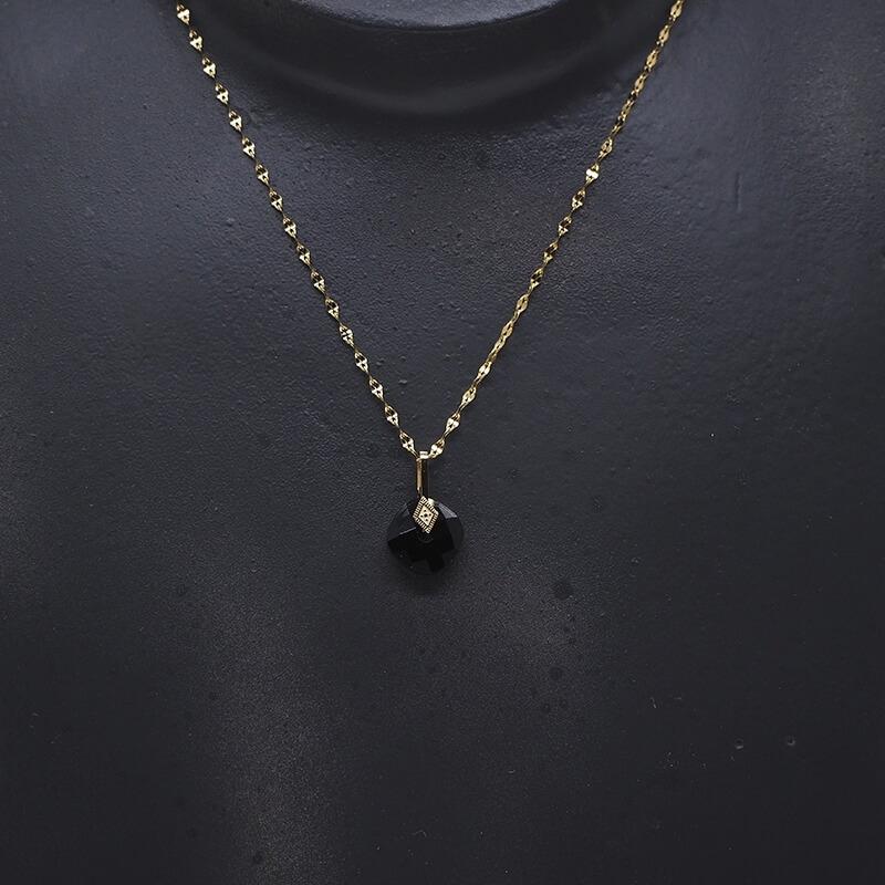 Collier losange précieux en acier jaune et onyx - Zag Bijoux