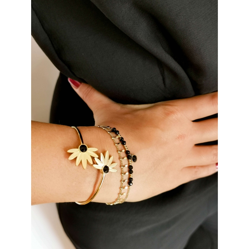 Bracelet jonc Alicia noir -...