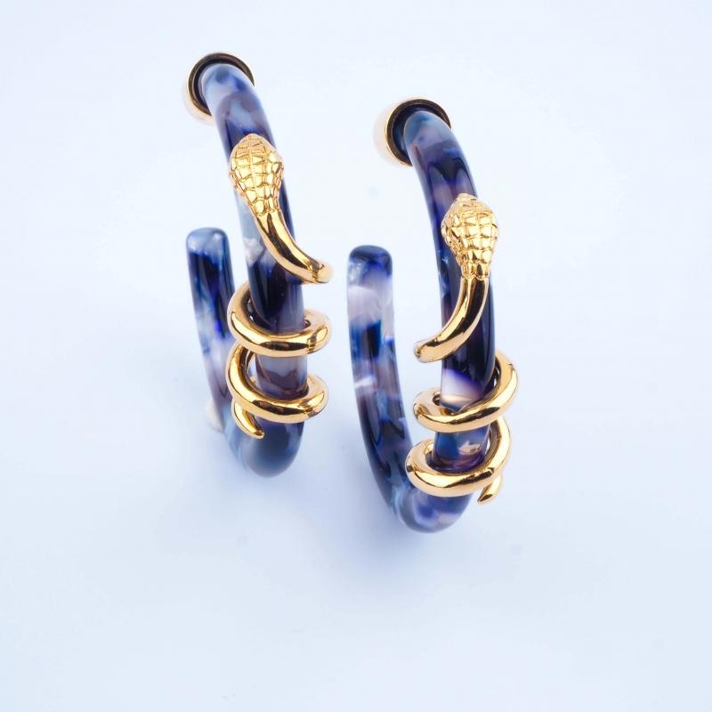Boucles d'oreilles créoles cobra bleu - Zag bijoux