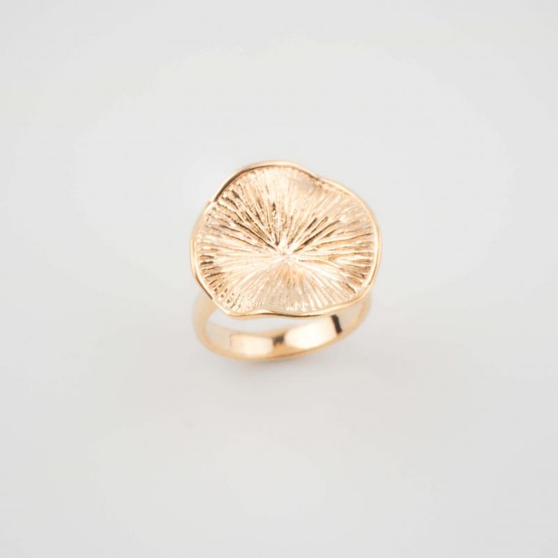Bague hibiscus plaqué or -...