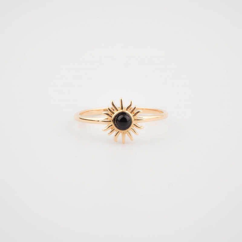 Gold plated black sun ring...