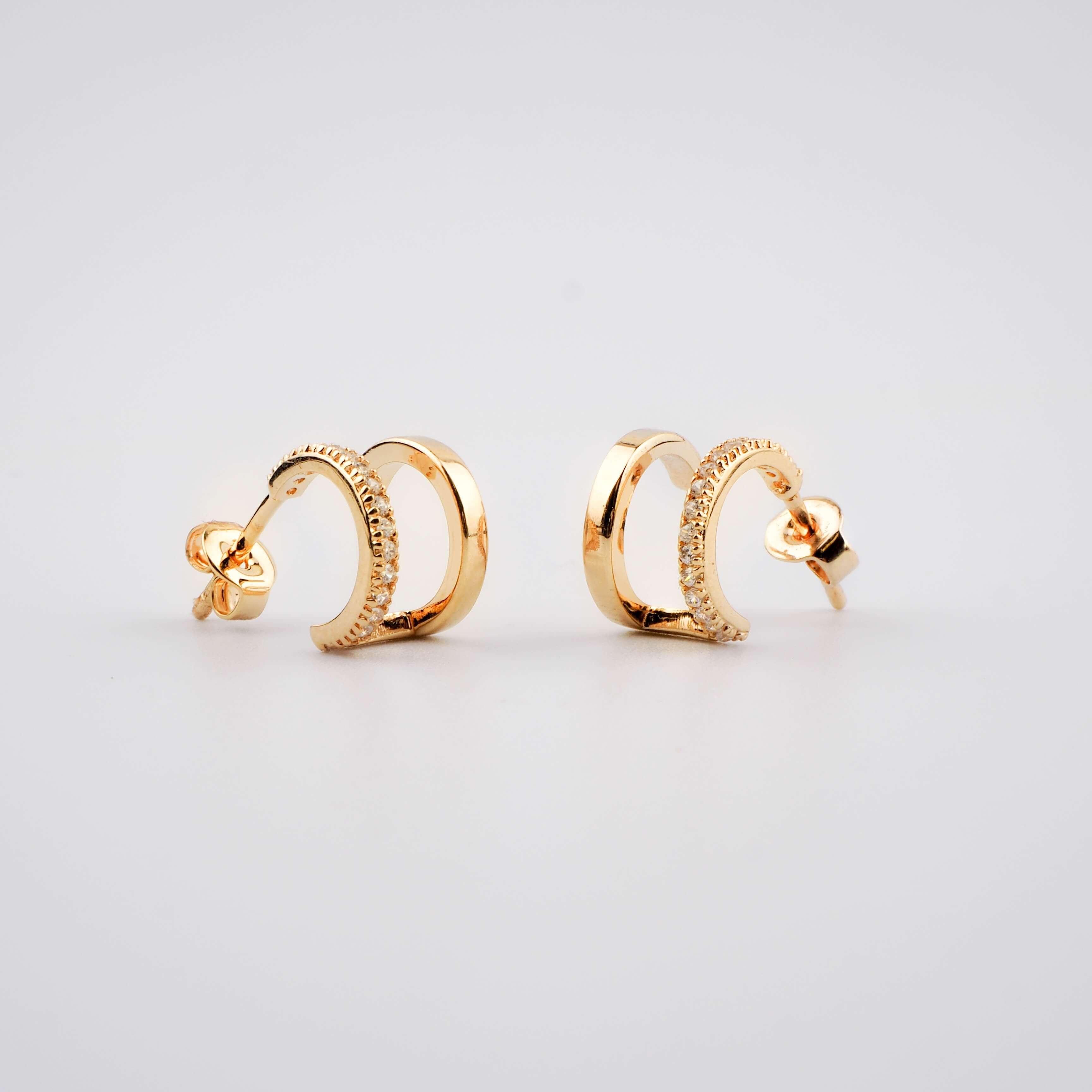 Boucles d'oreilles créoles duo plaqué or - Pomme Cannelle