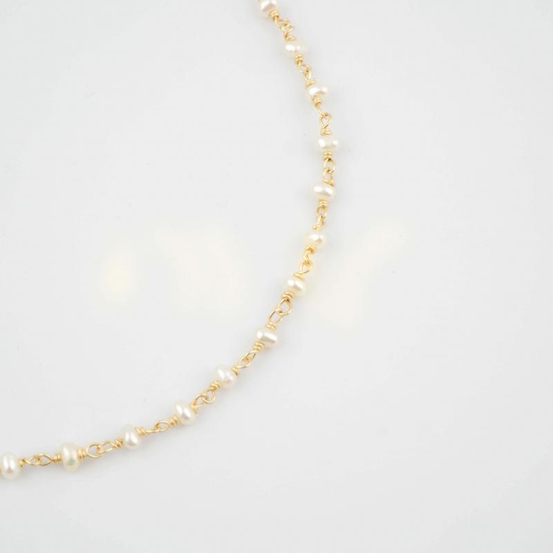 Collier perle plaqué or -...