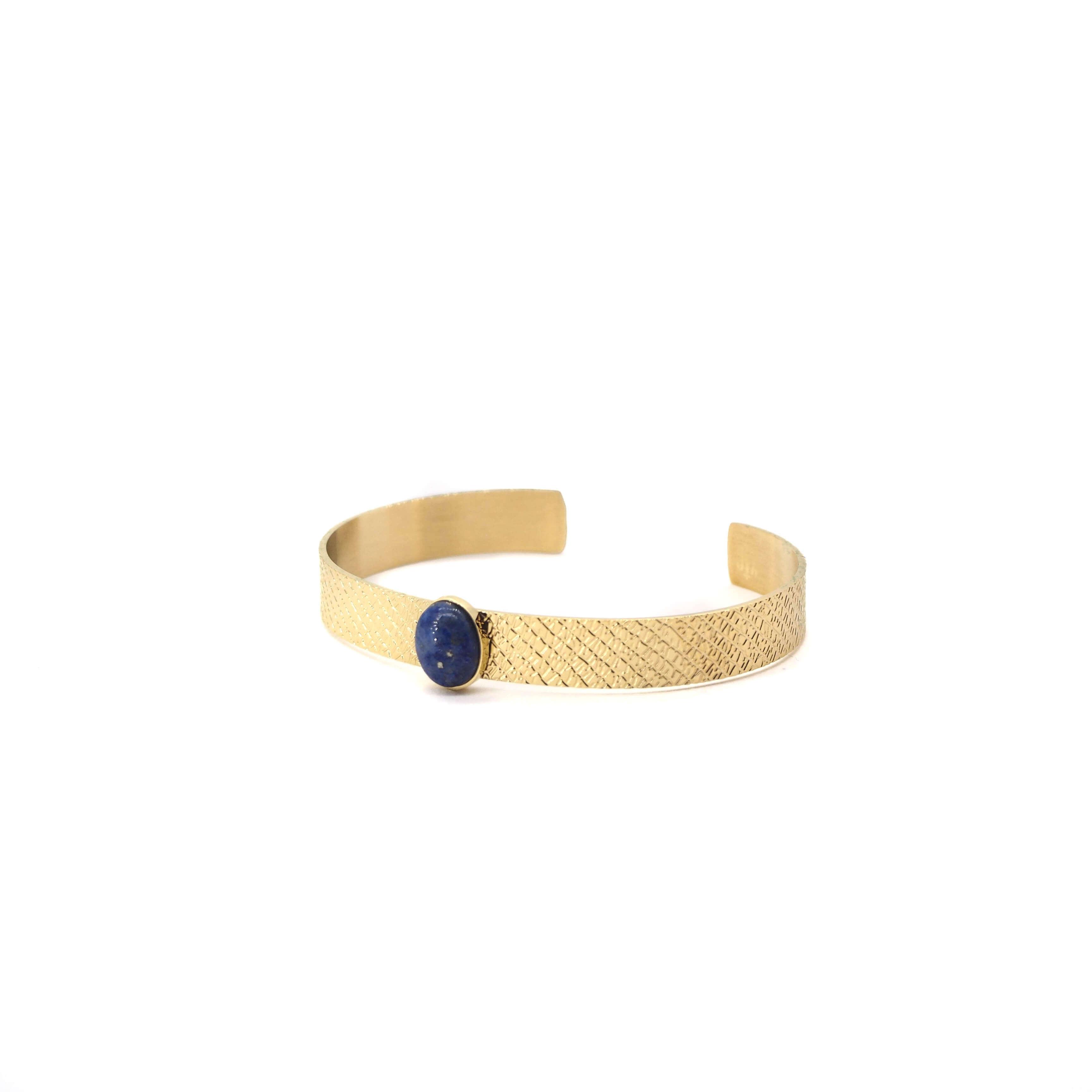 Jonc stone en acier jaune et lapis lazuli - Zag bijoux