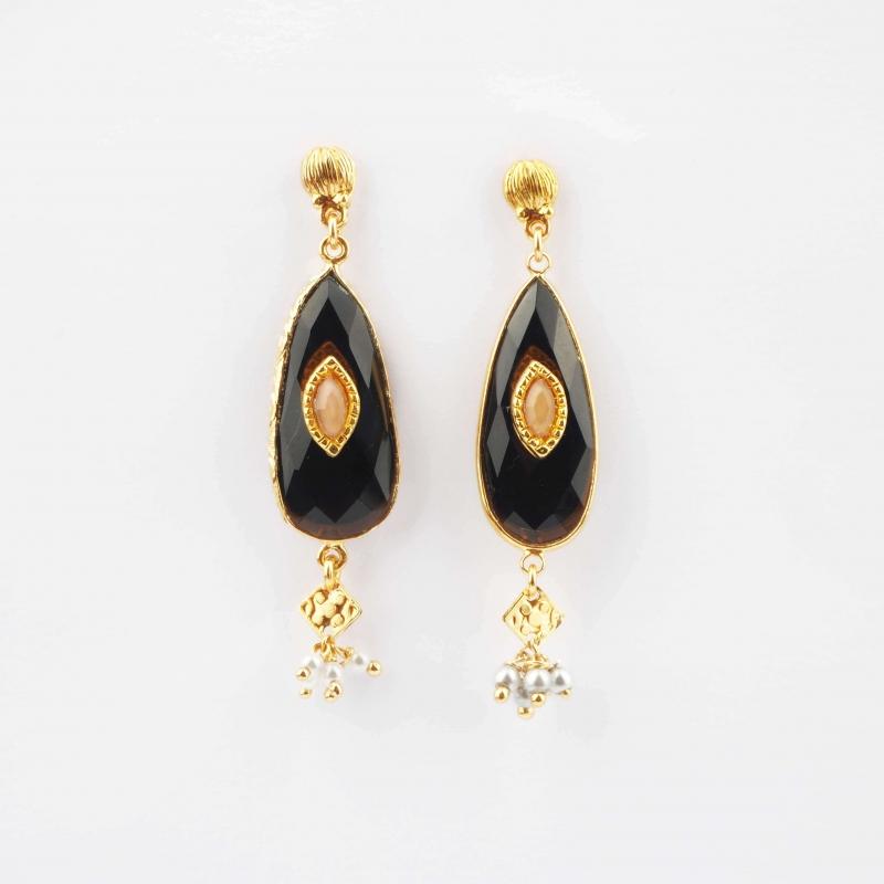 Serti Goutte gold earrings - Gas bijoux