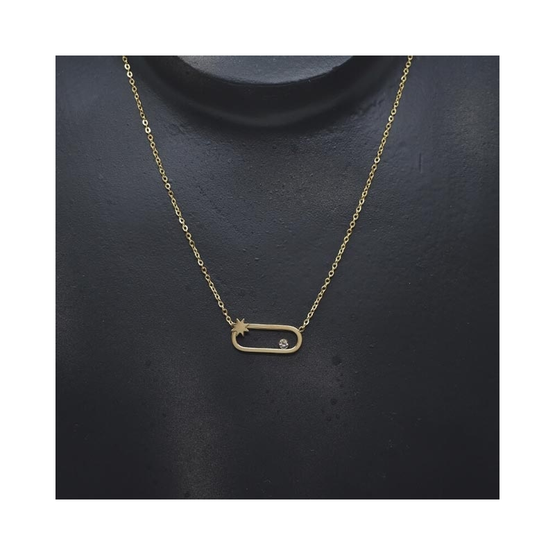 Oval star gold necklace -...