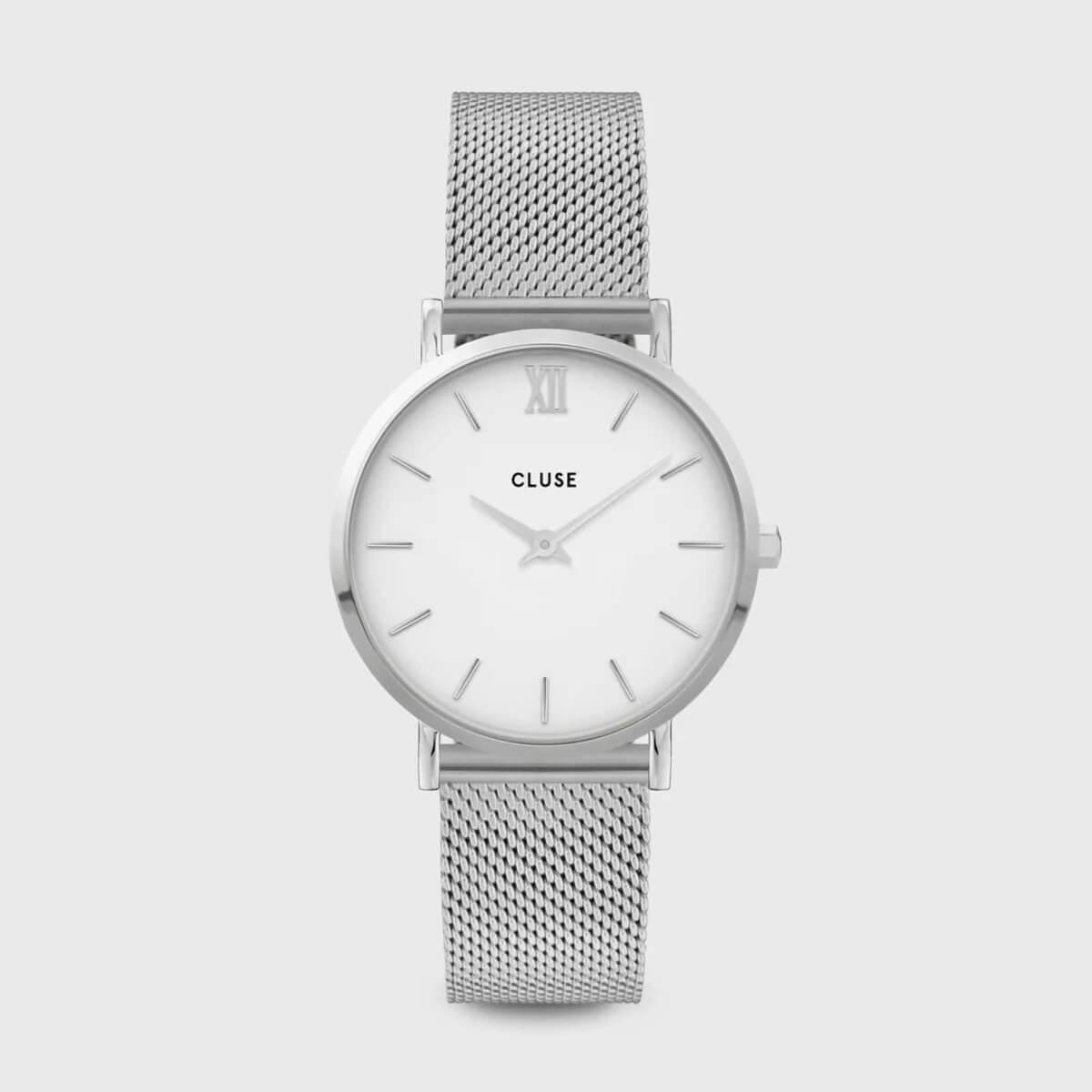 Montre Minuit mesh white en acier - Cluse