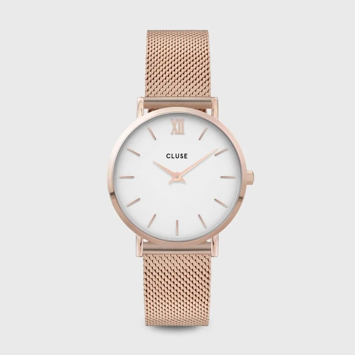 Montre Minuit mesh white rose gold en acier - Cluse