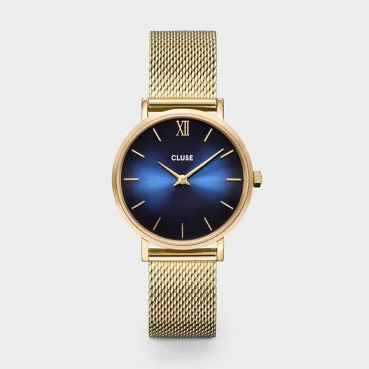 Montre Minuit mesh deep blue gold en acier - Cluse