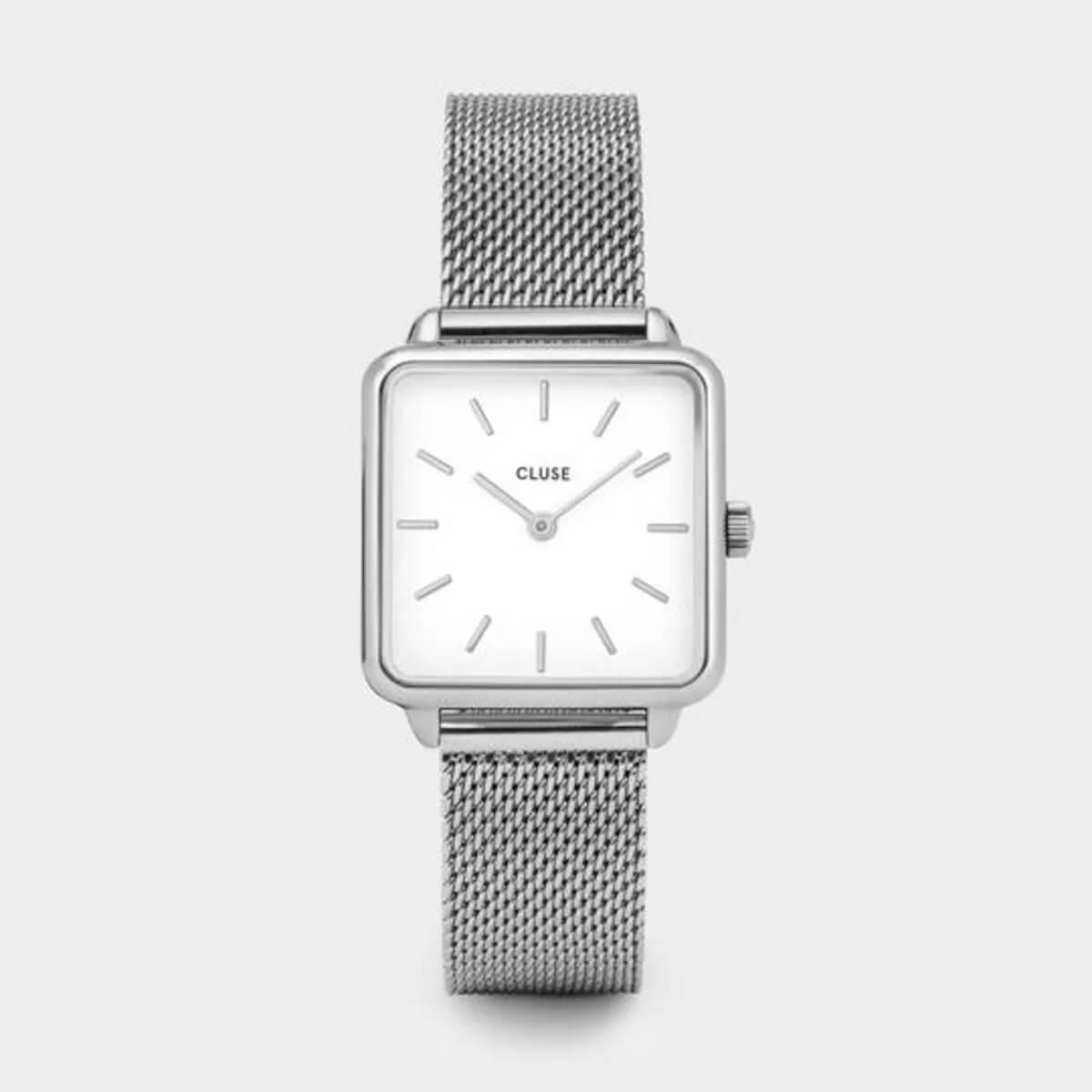 Montre La Tétragone mesh white en acier - Cluse