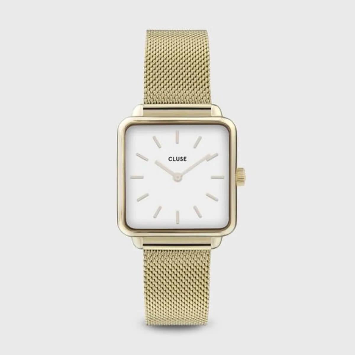 Montre La Tétragone mesh white gold en acier - Cluse