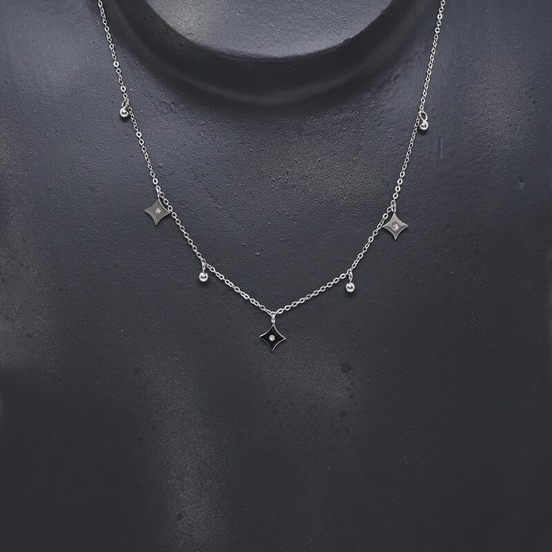 Collier losange strass en acier - Zag Bijoux