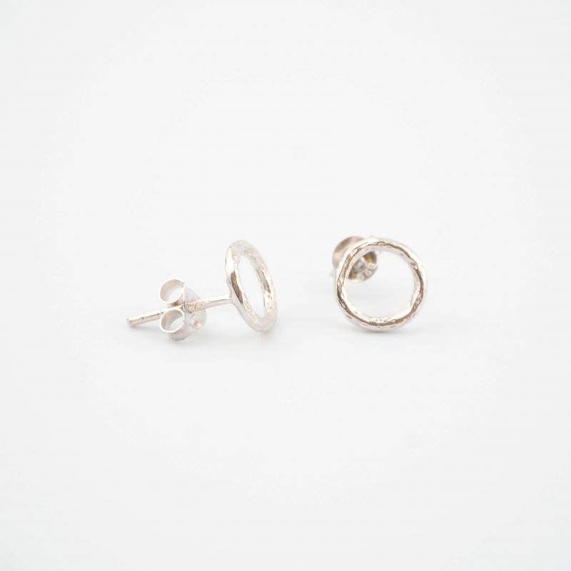 Silver circle earrings -...