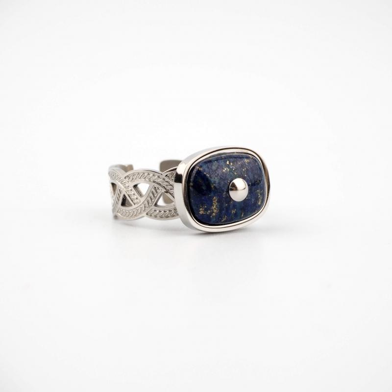 Bague tresse lapis lazuli...