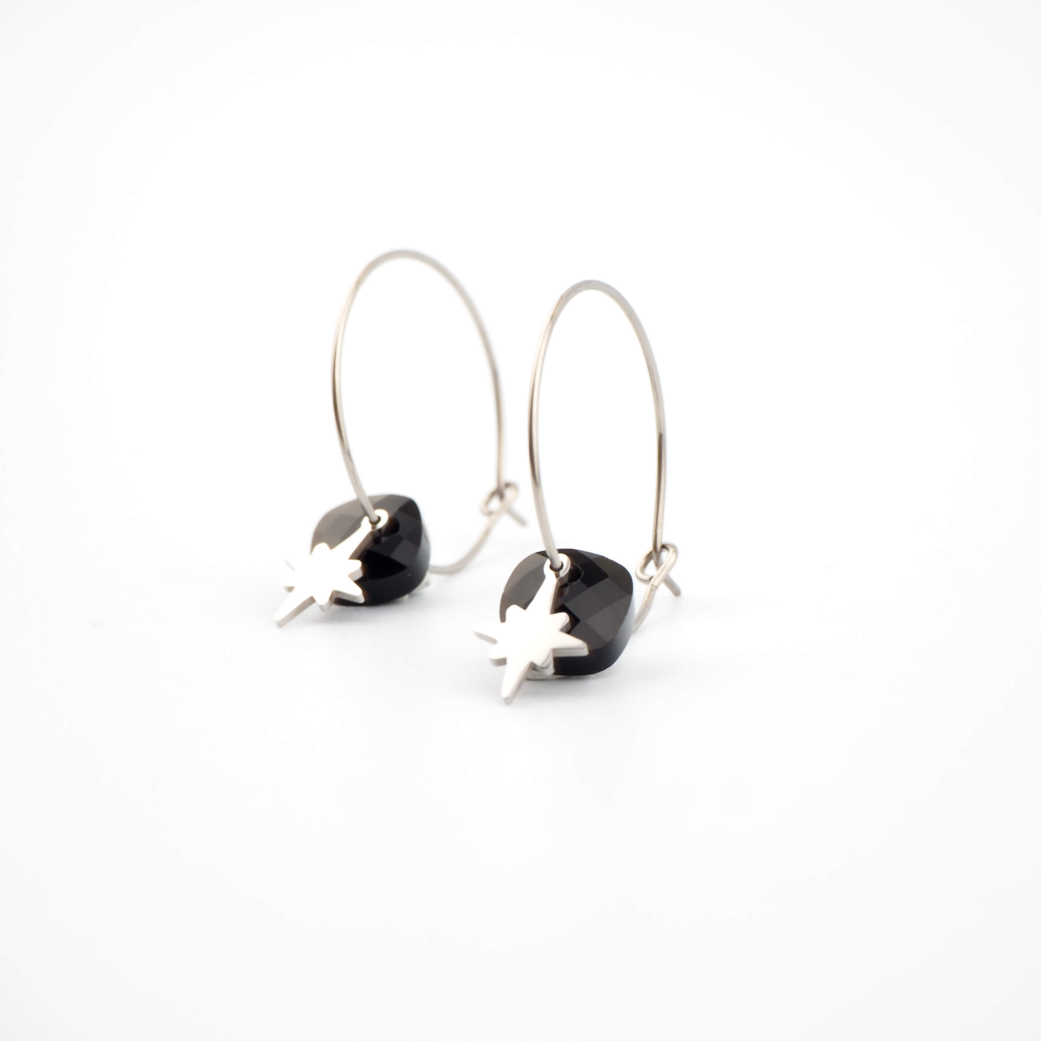 Boucles d'oreilles créoles Théa onyx - Zag Bijoux