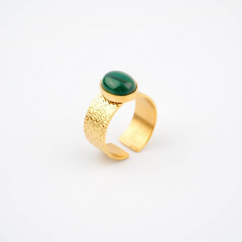 Stormy green gold ring -...