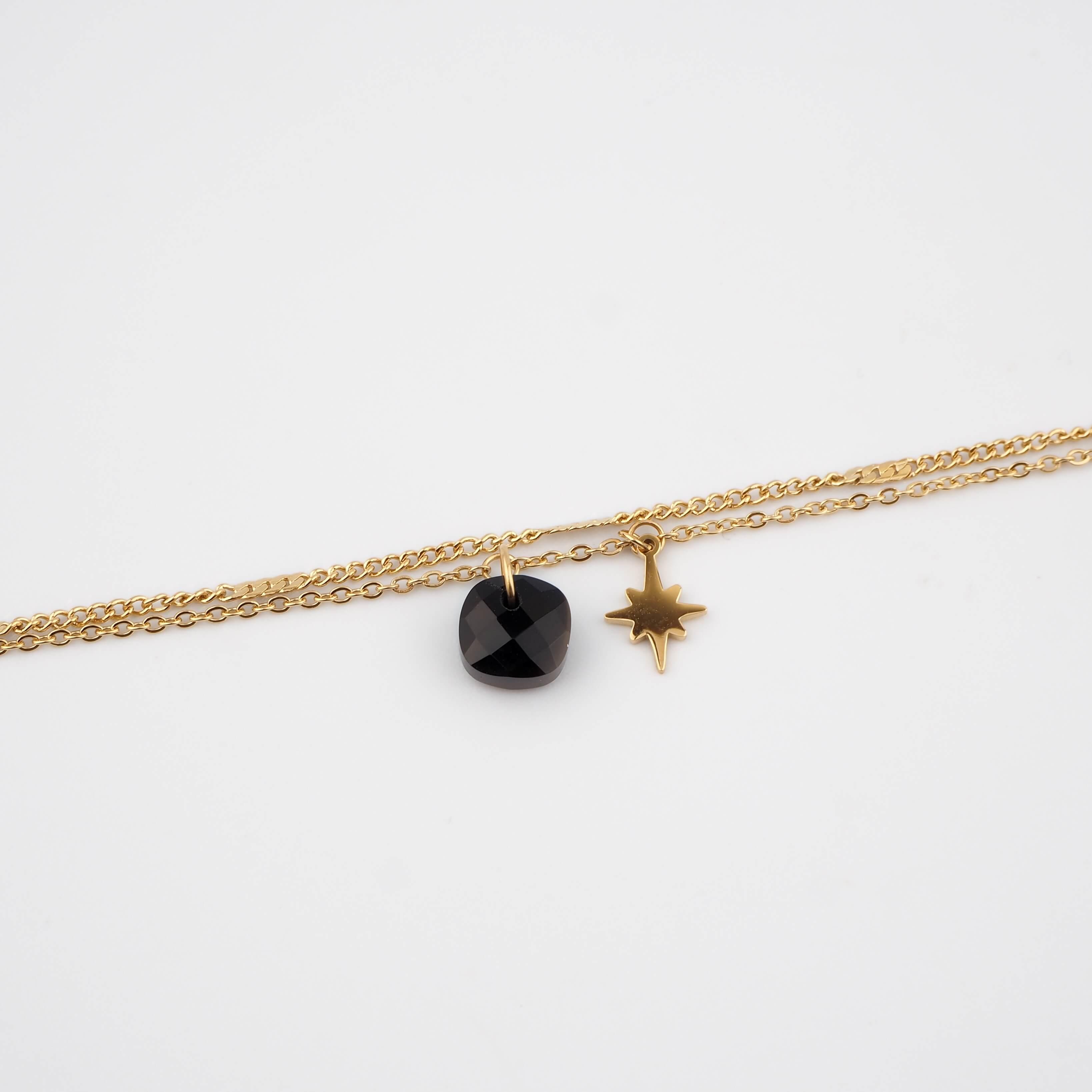 Bracelet stone polar onyx en acier - Zag Bijoux
