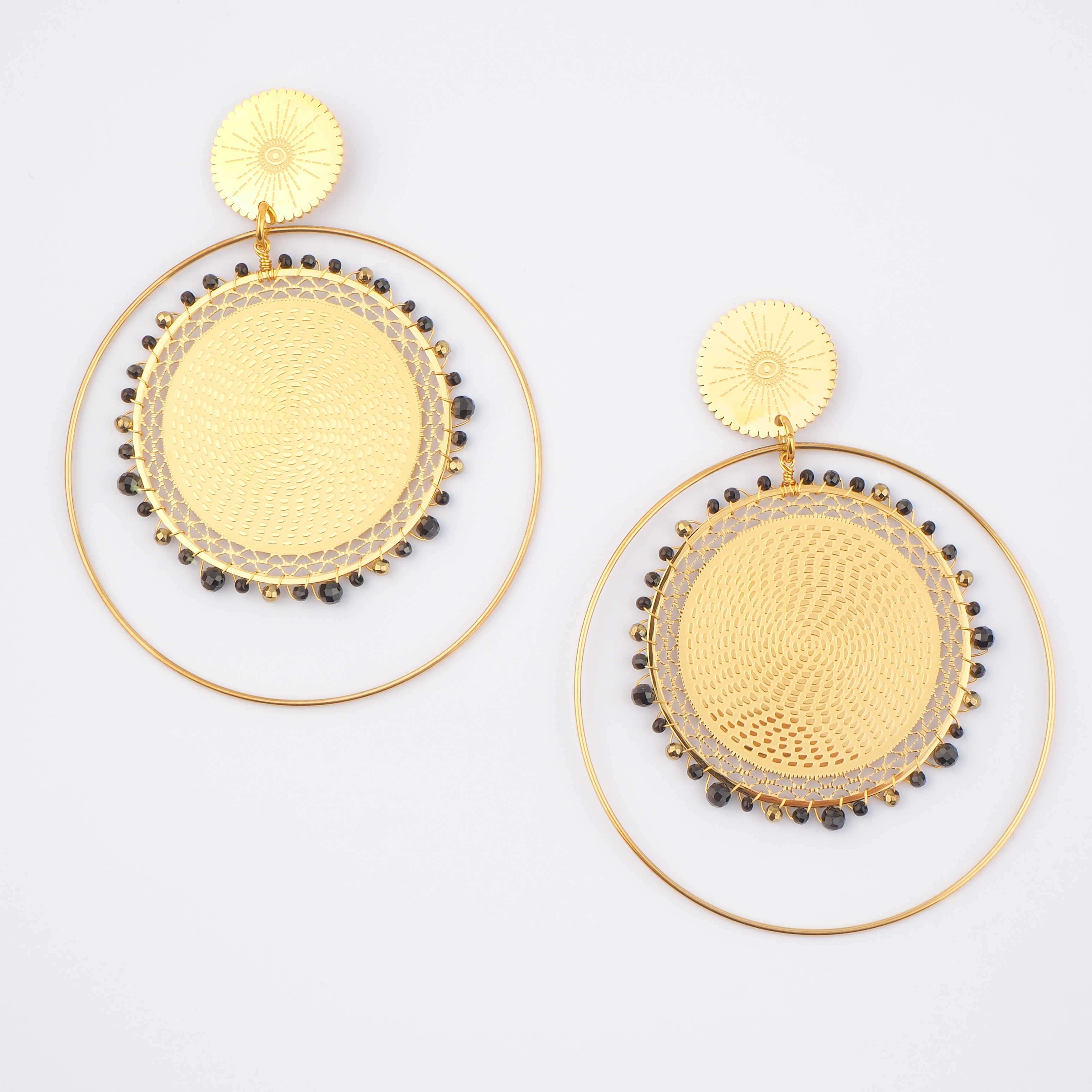 Boucles d'oreilles Icare onyx en acier - Zag Bijoux
