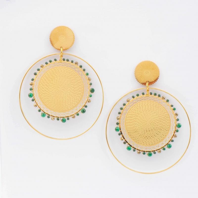 Boucles d'oreilles Icare malachite en acier - Zag Bijoux