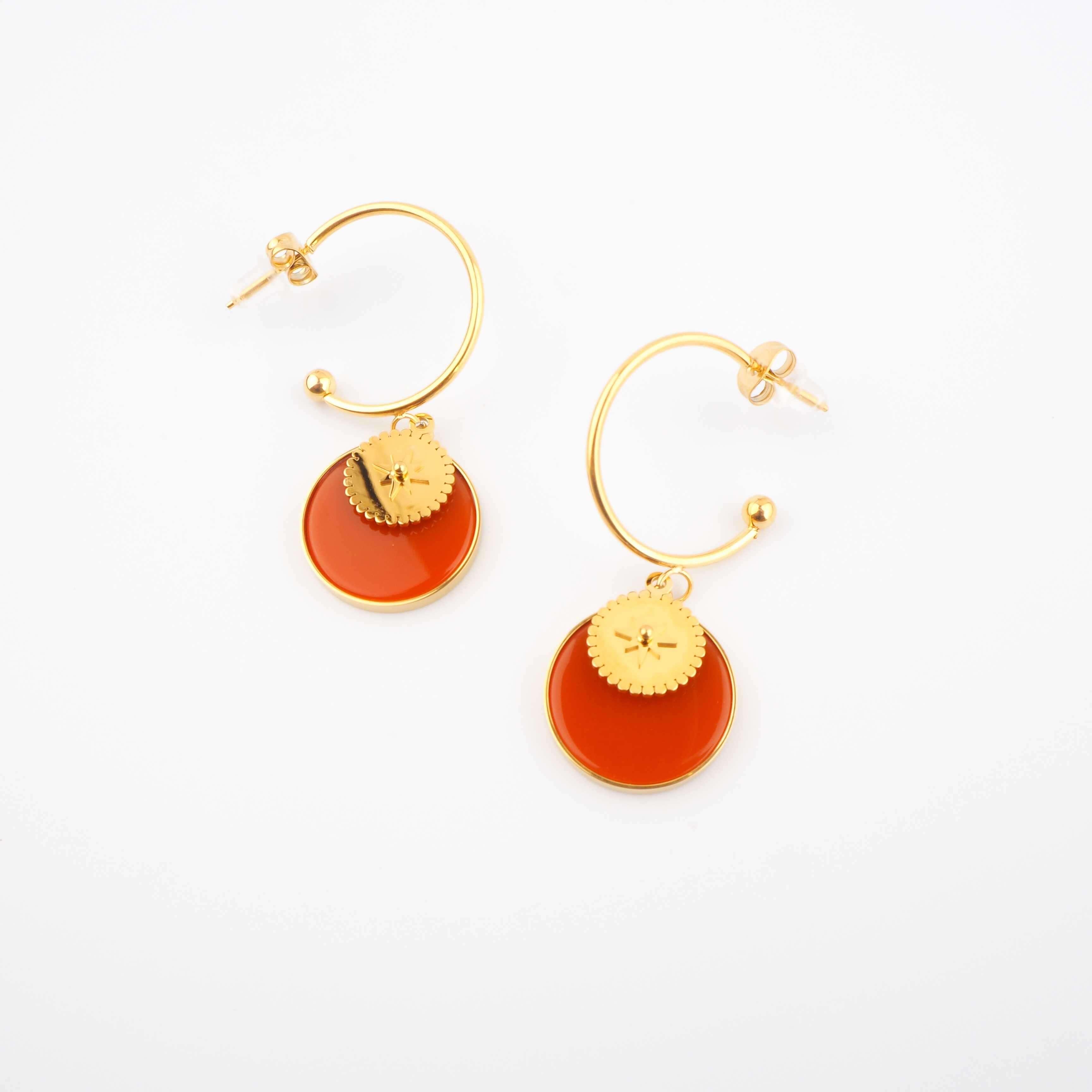 Boucles d'oreilles créoles Thaïs cornaline - Zag Bijoux