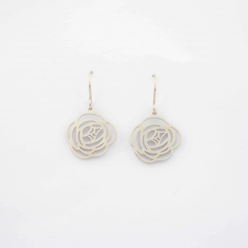 Camelia silver earrings -...