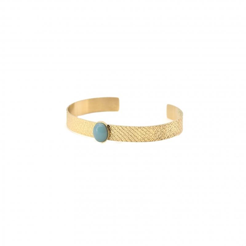 Jonc stone en acier jaune et amazonite - Zag Bijoux