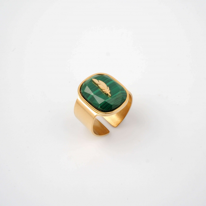 Feather green gold ring -...