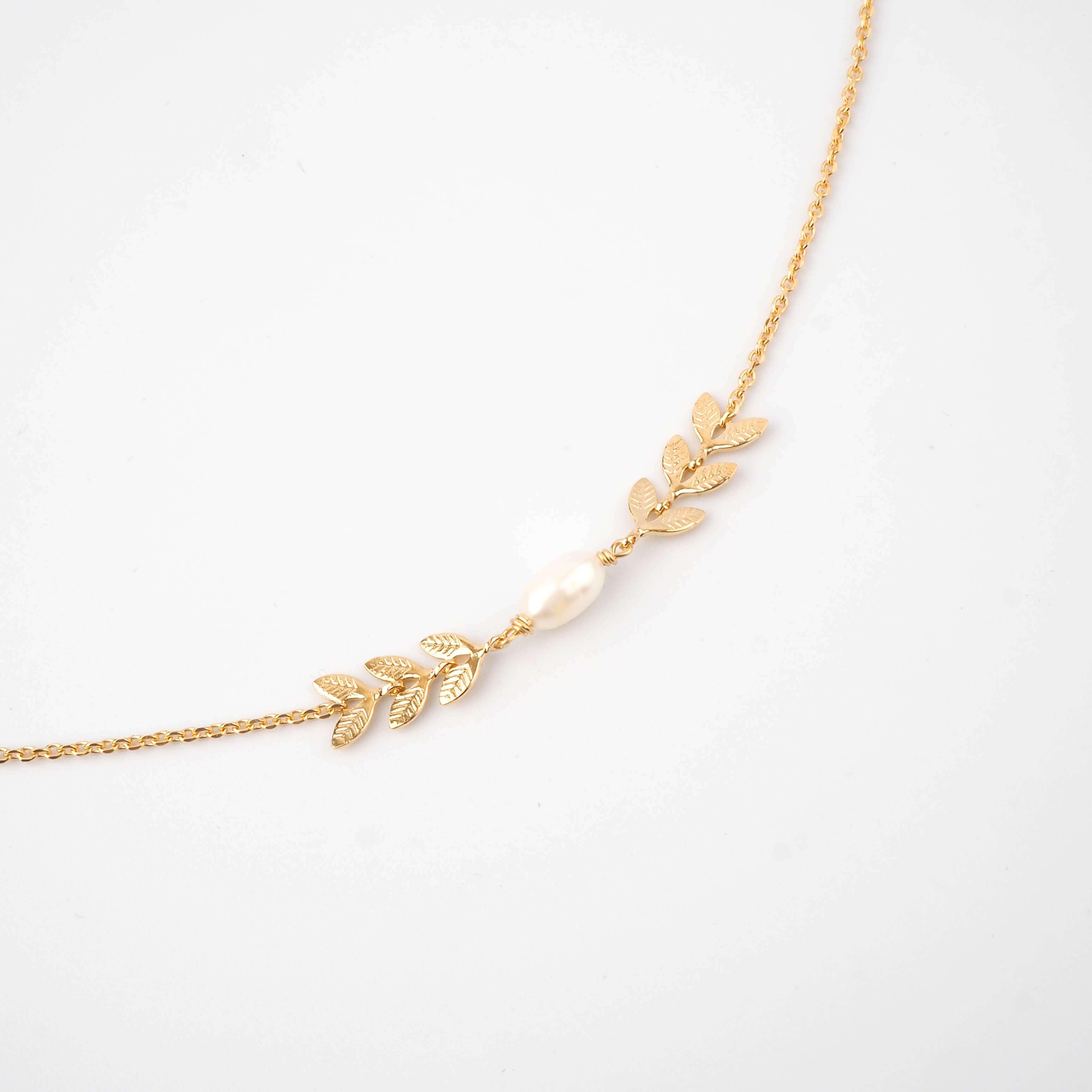 Collier épis perlé en plaqué or - Pomme Cannelle