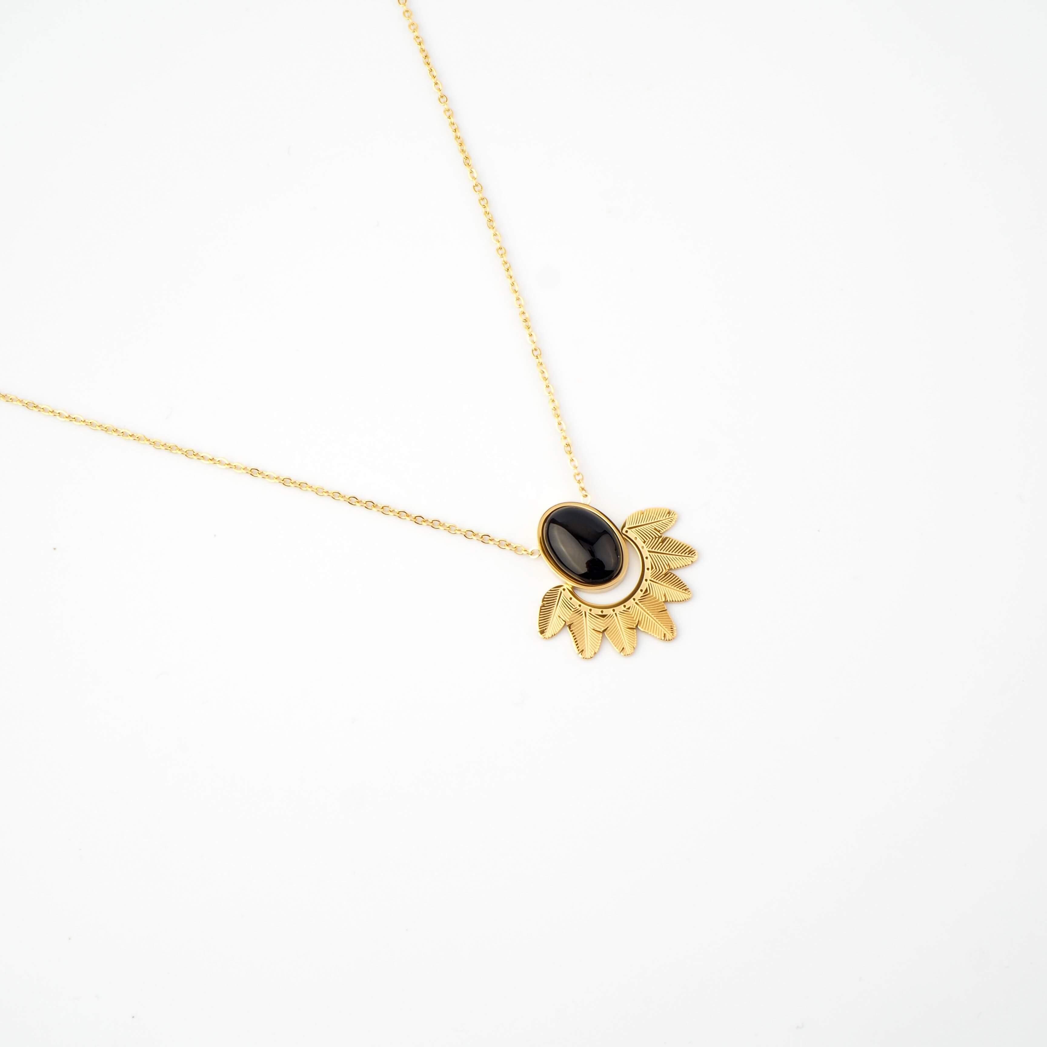 Collier Palm onyx en acier jaune  - Zag Bijoux