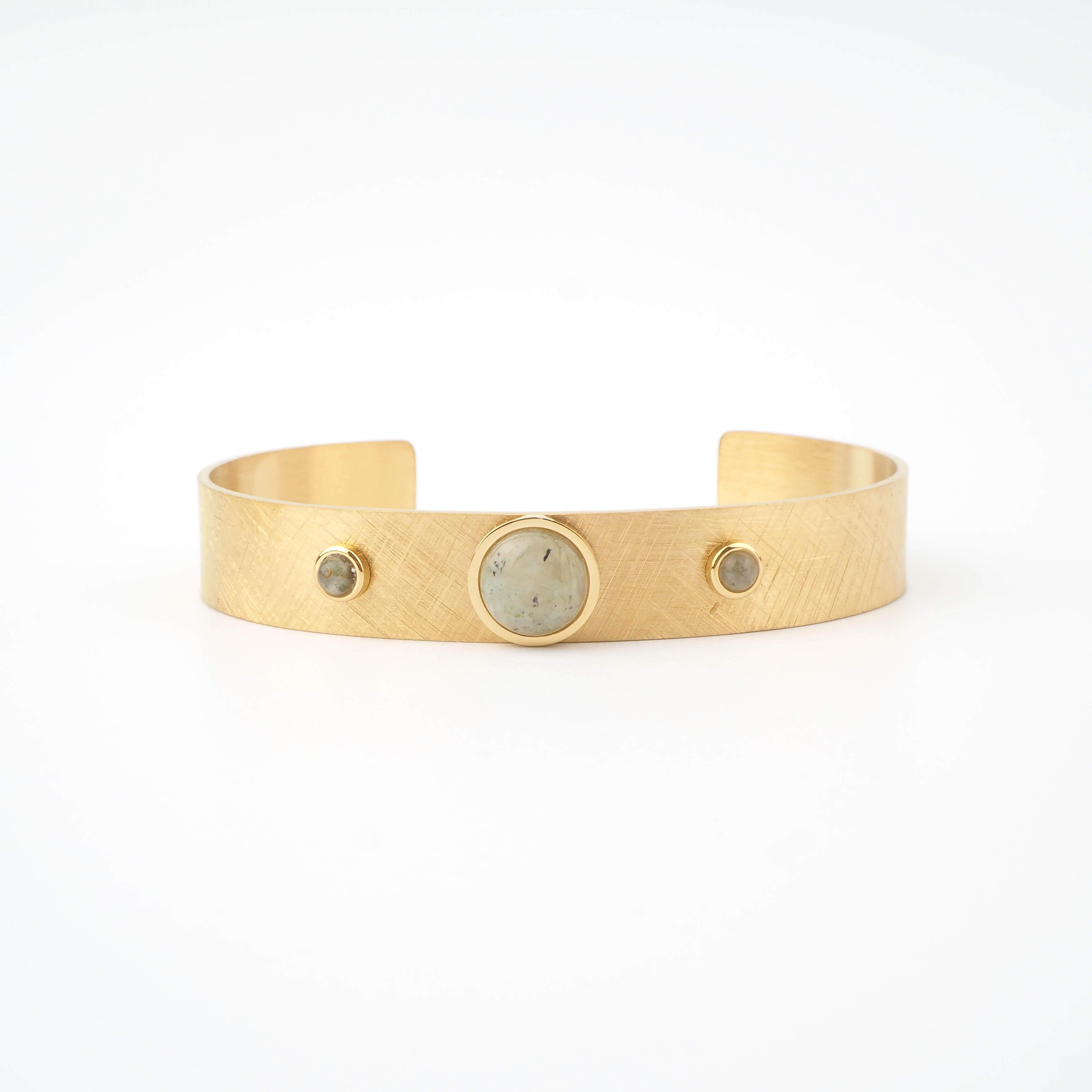 Bracelet jonc Billy labradorite en acier jaune - Zag Bijoux
