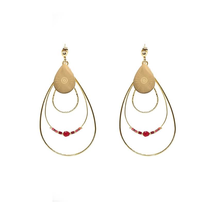 Boucles d'oreilles boréales en acier jaune et rubis indien - Zag Bijoux