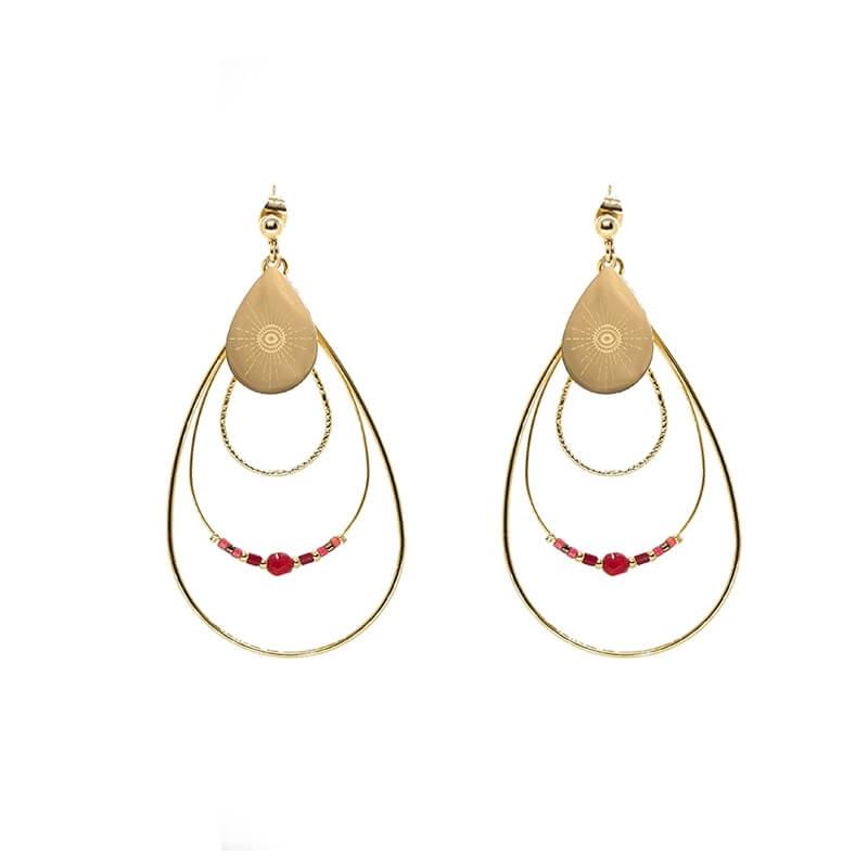 Boucles d'oreilles boréale en acier et rubis indien - Zag Bijoux