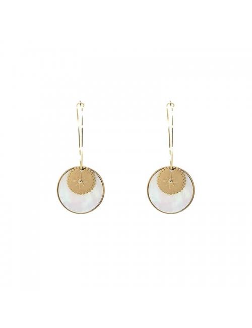 Boucles d'oreilles créoles nacrées en acier - Zag Bijoux