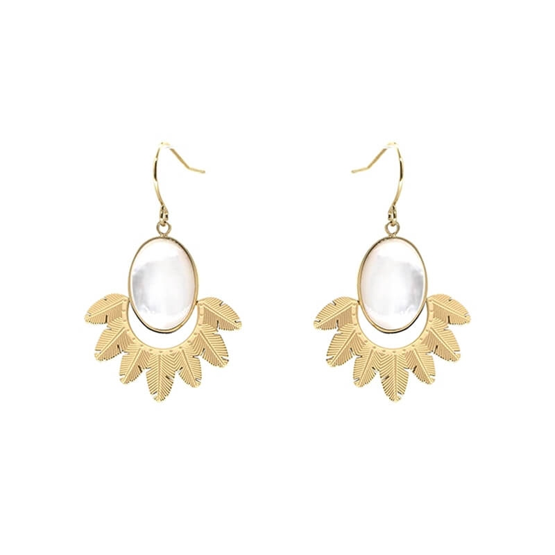 Palm pearly gold earrings -...