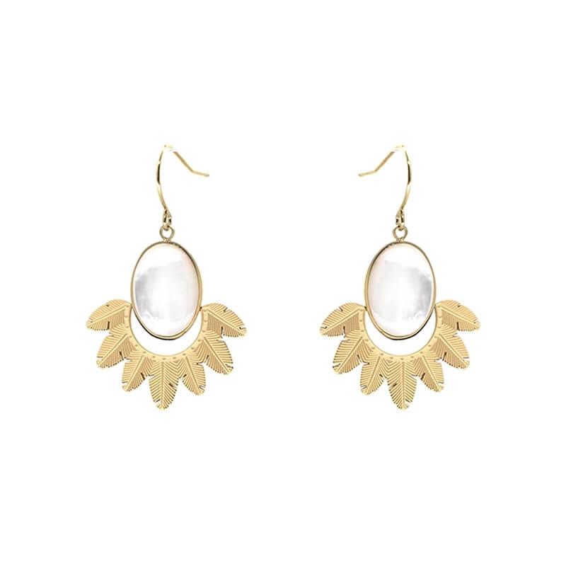 Boucles d'oreilles plume nacre en acier jaune - Zag Bijoux