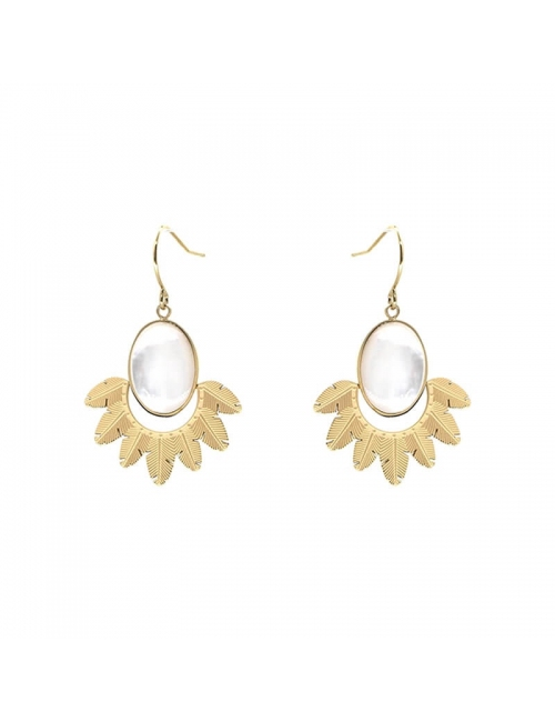 Palm pearly gold earrings - Zag Bijoux
