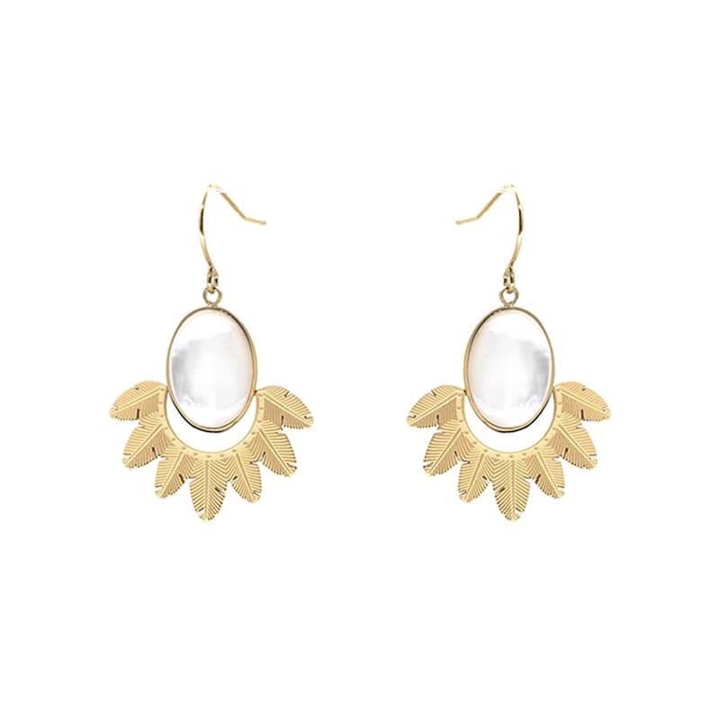 Boucles d'oreilles Palm en acier jaune - Zag Bijoux