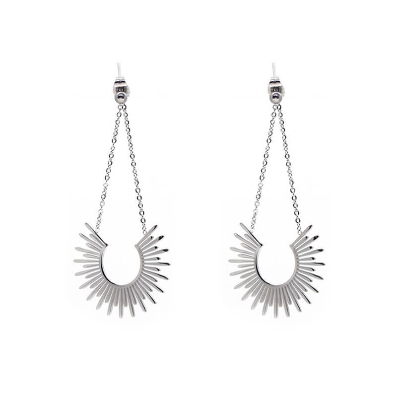 Boucles d'oreilles soleil en acier - Zag Bijoux