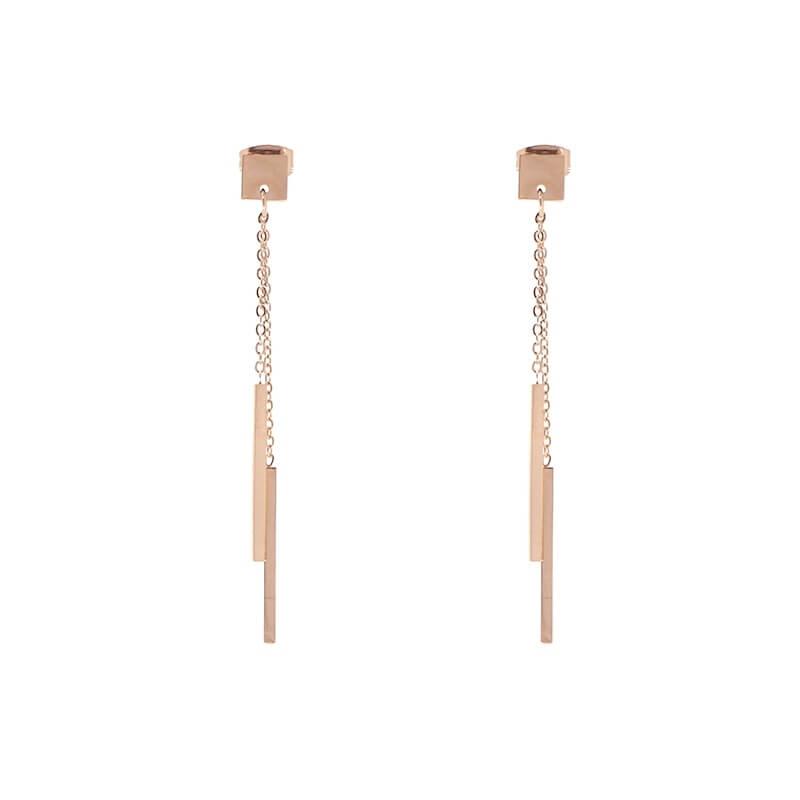 Boucles d'oreilles barrettes en acier rose - Zag Bijoux