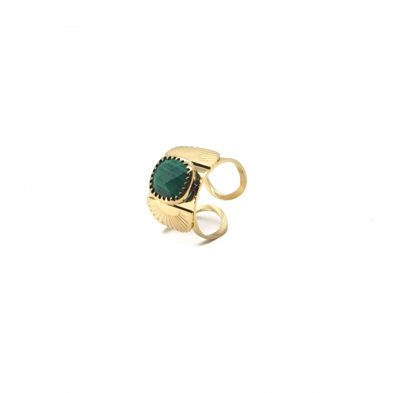 Precious malachite fan gold...