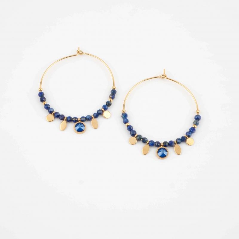 Hila blue gold hoops...