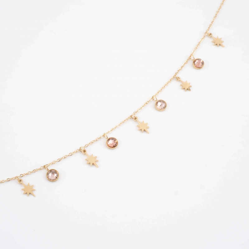 Collier Akash rose en acier...