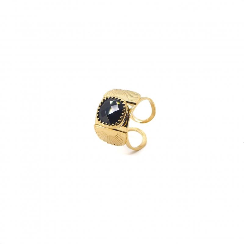 Precious onyx fan gold ring - Zag Bijoux
