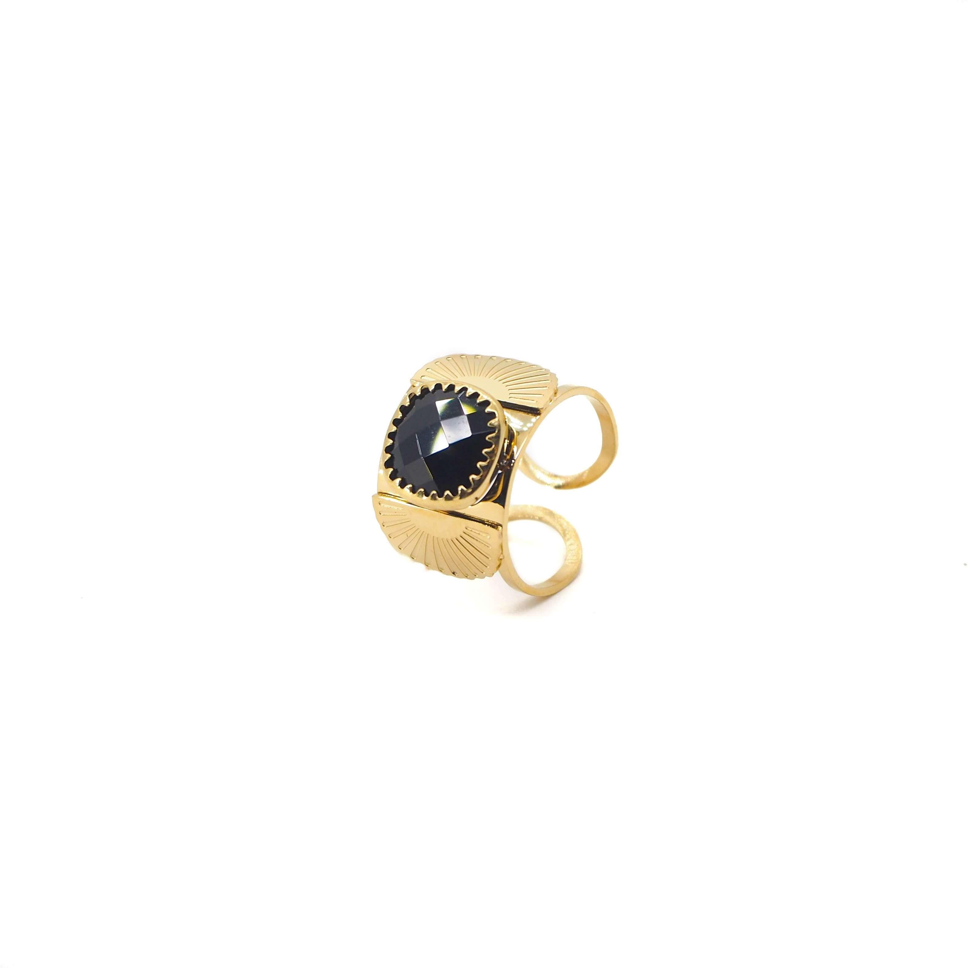Bague éventail précieux en acier jaune et onyx - Zag Bijoux