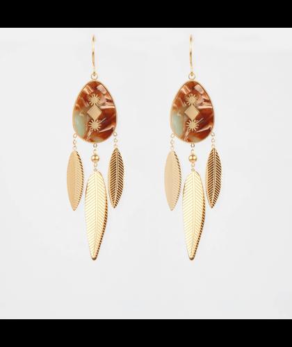 Boucles d'oreilles Isis bis acier doré - Zag Bijoux