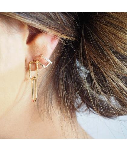Boucles d'oreilles créoles duo plaqué or - Pomme Cannelle - Pomme Cannelle