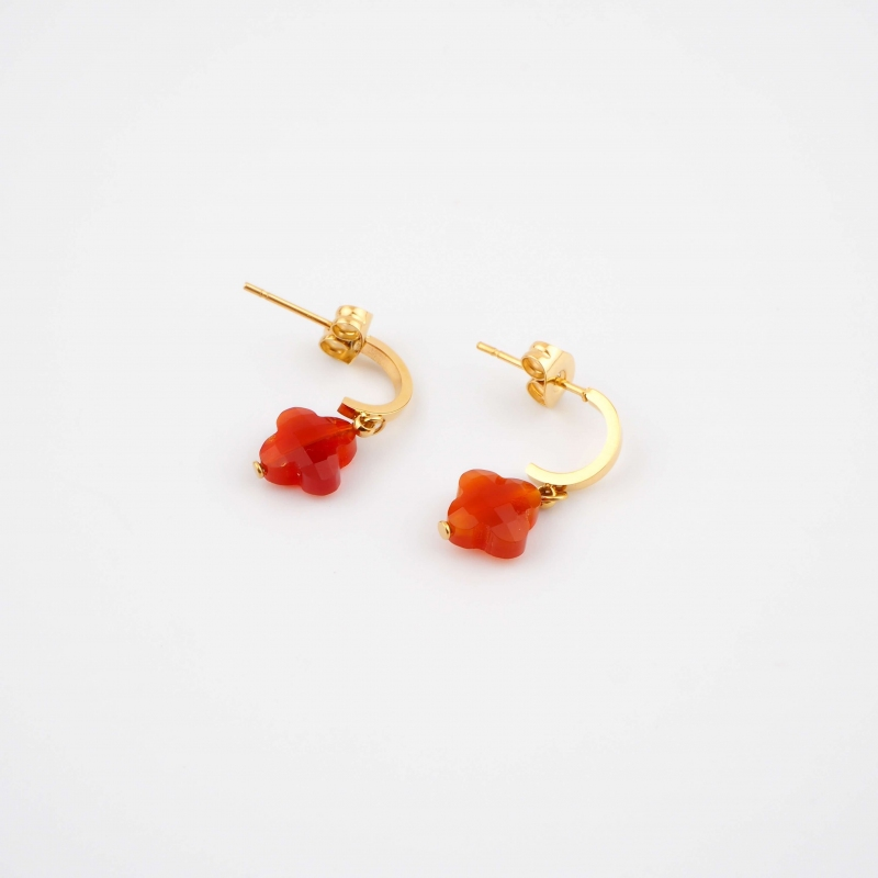 Tiny red gold hoops...