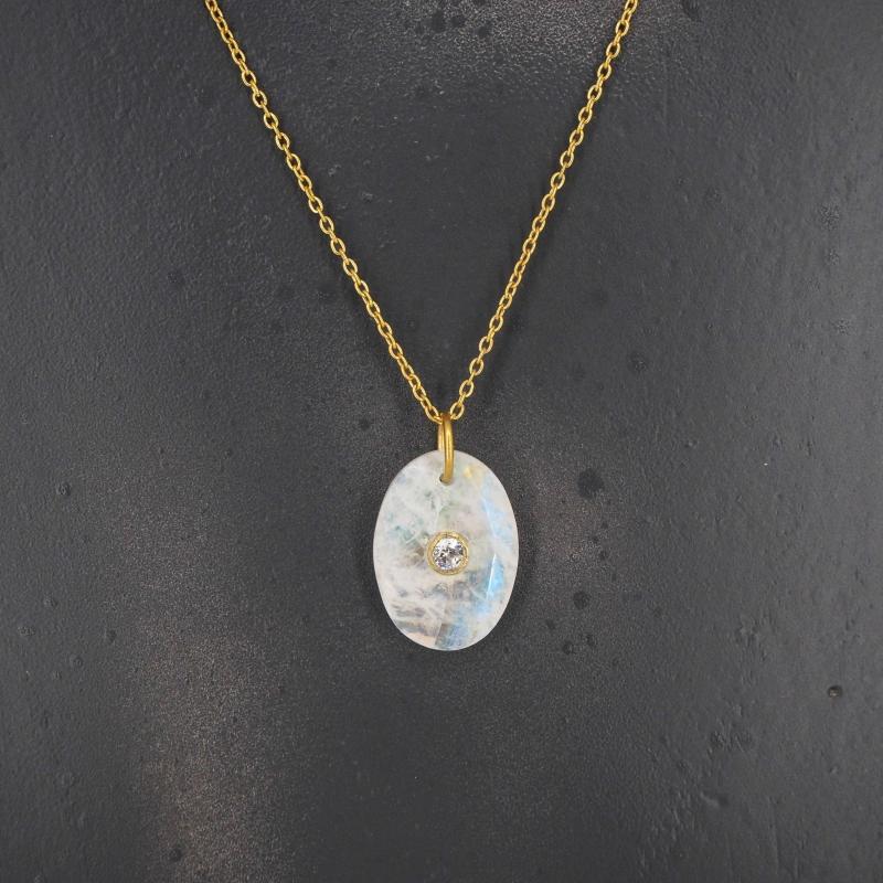 Collier opale ovale en laiton doré - Lucky Team
