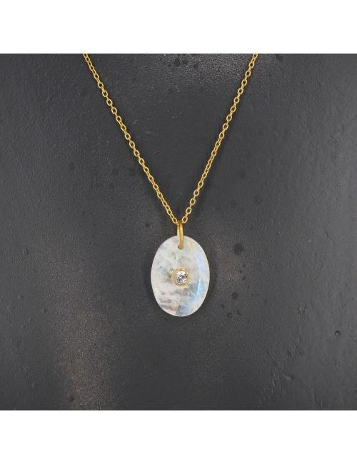 Oval opal gold necklace - LuckyTeam